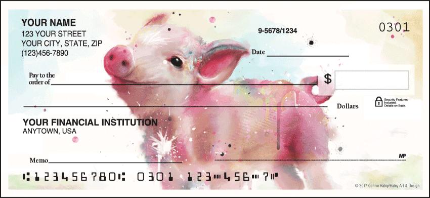 Watercolor Farm Animal Personal Checks - 1 Box - Singles